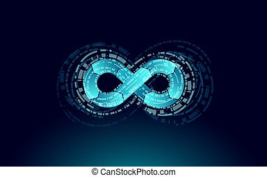 Devops software development operations infinity symbol. Programmer administration system life cycle quality. Coding building testing release monitoring. Online freelance vector illustration.