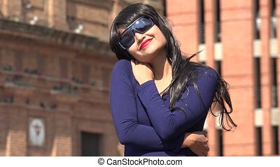 Devoted Romantic Woman Wearing Sunglasses And Wig
