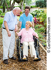 Devoted Spouse - Devoted senior husband visits his wife with...