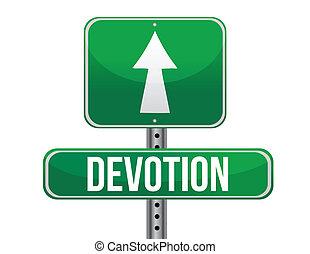 Devotion traffic road sign illustration design over white