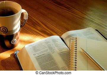Devotional - Open Bible with tea cup and journal