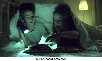 Devouring Book - Children reading one book, girl blocking...