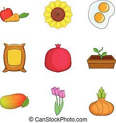 Devouring icons set, cartoon style - Devouring icons set. ...