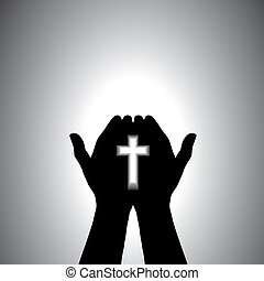 Devout christian worshipping with cross in hand - Person...
