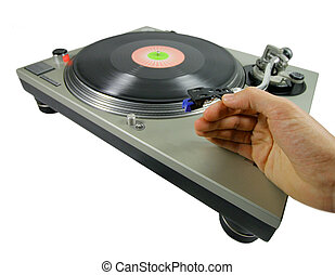 dex spin - a hand putting a needle on a record