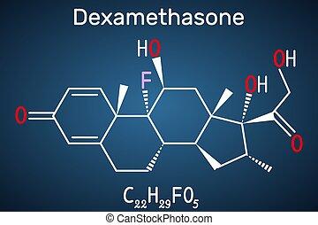 Dexamethasone molecule. This anti-inflammatory medication is...