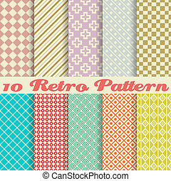 dez, retro, diferente, vetorial, seamless, padrões, (tiling)