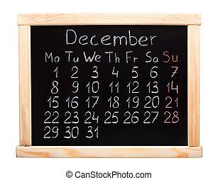 Dezembro, Calendário,  2014
