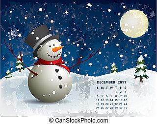 dezembro, calendário, -, boneco neve