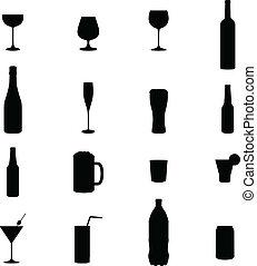 dezesseis, jogo, pretas, bebida, silhouet