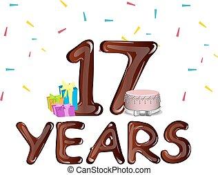 dezessete, anos, cartão aniversário, celebração