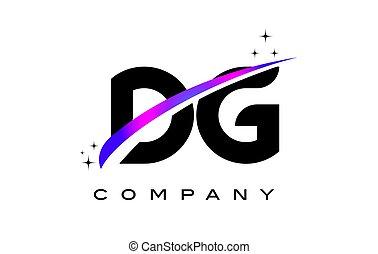 DG D G Black Letter Logo Design with Purple Magenta Swoosh...