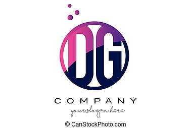 DG D G Circle Letter Logo Design with Purple Dots Bubbles -...