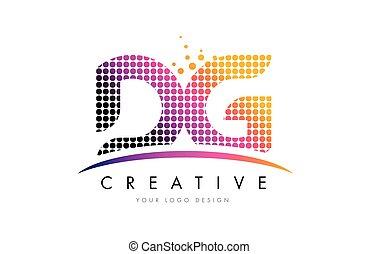 DG D G Letter Logo Design with Magenta Dots and Swoosh - DG...