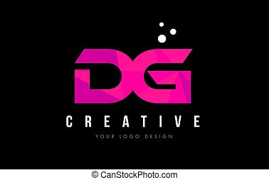 DG D G Letter Logo with Purple Low Poly Pink Triangles...