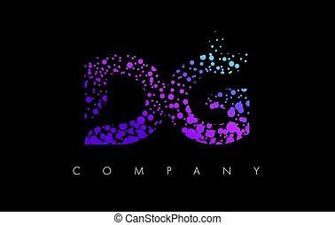DG D G Letter Logo with Purple Particles and Bubble Dots -...