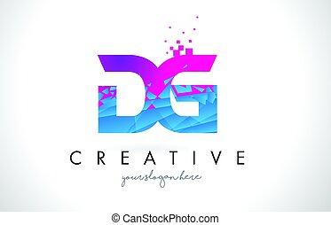 DG D G Letter Logo with Shattered Broken Blue Pink Texture...