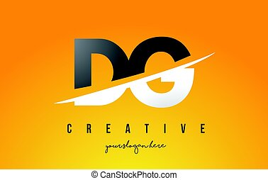 DG D G Letter Modern Logo Design with Yellow Background and...