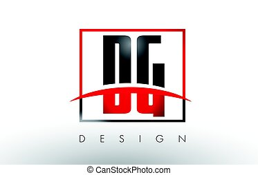 DG D G Logo Letters with Red and Black Colors and Swoosh....