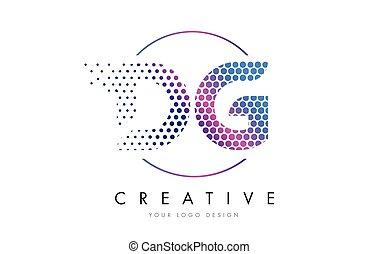 DG D G Pink Magenta Dotted Bubble Letter Logo Design Vector...