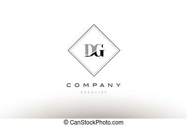 dg d g retro vintage black white alphabet letter logo - dg d...