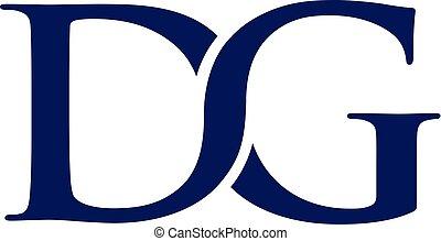 dg, litera, logo, projektować, wektor