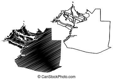 dhabi, (united, dhabi), emirate, árabe, mapa, garabato, ...