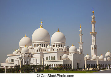 dhabi, wielki, uae, abu, meczet