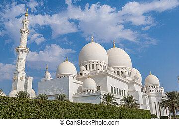 dhabi, zayed, mezquita, jeque, abu, blanco