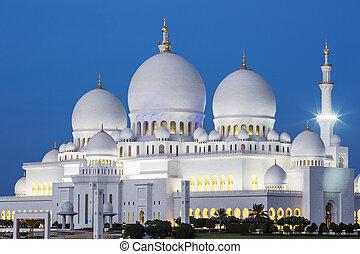 dhabi, zayed, mezquita, jeque, famoso, abu, noche