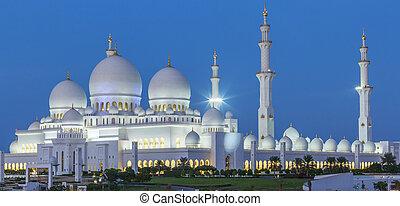 dhabi, zayed, mezquita, jeque, panorámico, abu, noche, vista