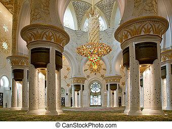 dhabi, zayed, moschee, scheich, abu, weißes, uae
