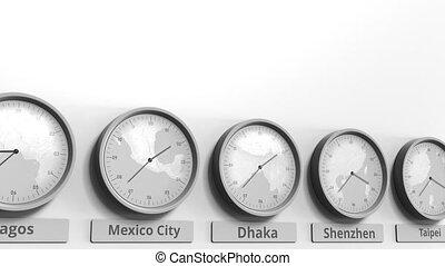 dhaka, horloge, projection, dans, animation, bangladesh, temps, conceptuel, mondiale, rond, zones., 3d