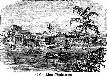 Dhaka in Bangladesh, during the 1890s, vintage engraving. Old engraved illustration of Dhaka.