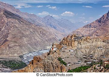 dhankar, spiti, gompa, vallée, himalaya, vue