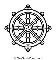 dharma, symbol, hjul