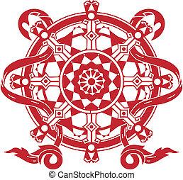 A stylized red dharma wheel