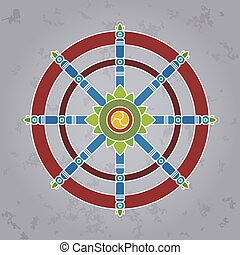 dharma wheel - Dharma Wheel or dharmachakra, theach and walk...
