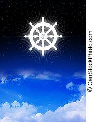 Dharma Wheel of Buddhism symbol on night sky