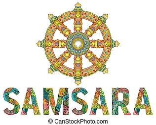 Dharma Wheel or dharmachakra, theach and walk to the path of...