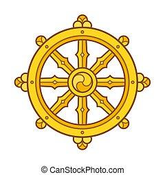 Dharmachakra (Dharma Wheel) symbol in Buddhism. Golden wheel sign art. Isolated vector illustration.