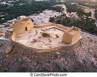Dhayah Fort in Ras al Khaimah emirate of the United Arab Emirates aerial view