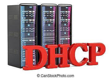 DHCP Server concept. 3D rendering