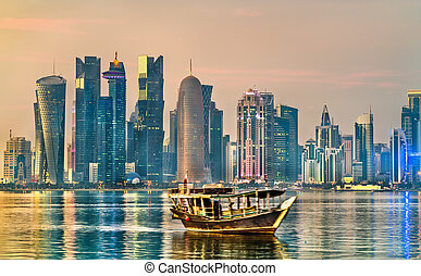 dhow, de madera, doha, qatar, tradicional, barco