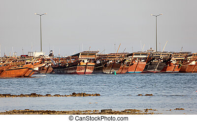 Dhow harbor in Al Wakrah, Qatar, Middle East