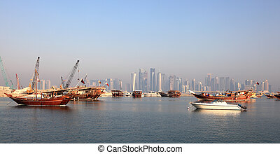 Dhow harbor in Doha. Qatar, Middle East