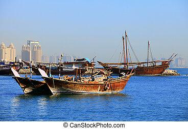 dhows, doha, bahía