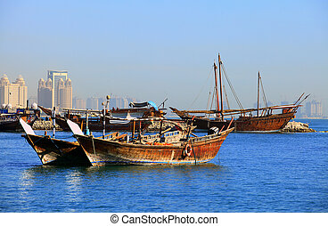 Dhows in Doha Bay