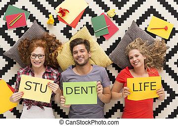 diákélet, van, egy, boldog, élet