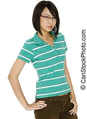 diák, alatt, szemüveg